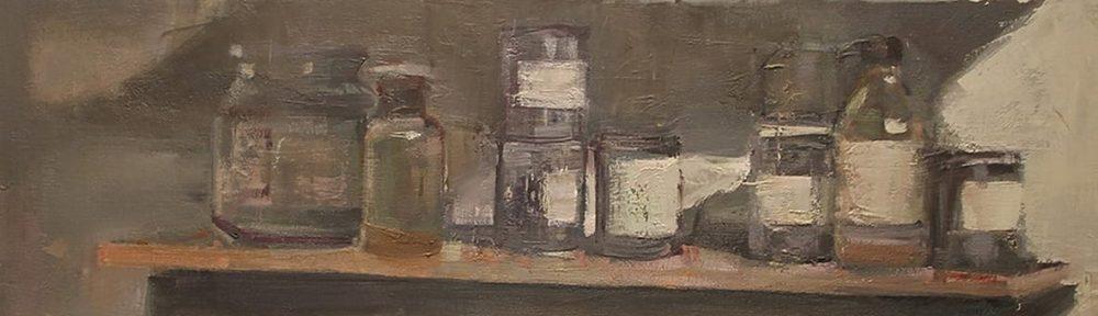 Estante de mi taller. Óleo sobre lienzo. 100x100cm. 1996