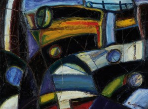 """Puerto"" . óleo sobre lienzo . 60 x 80 cm . 1980"