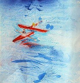 Remando en el lago Nahuel Huapi. Acuarela sobre papel. 42x19cm. 2008