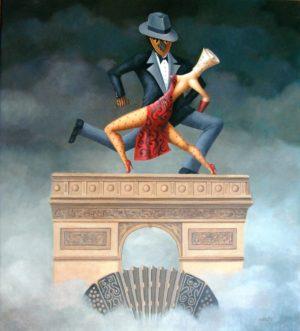 Anclao en París. Óleo sobre lienzo. 100x90cm. 2002