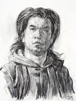 Hombre con Pañuelo . carbón sobre papel . 76x56cm . 2009