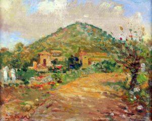 Paisaje de Río Ceballos . óleo sobre cartón . 19x24cm . 1945