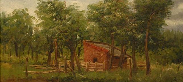 Al Borde del Monte . óleo sobre tabla . 32x40cm . 1895