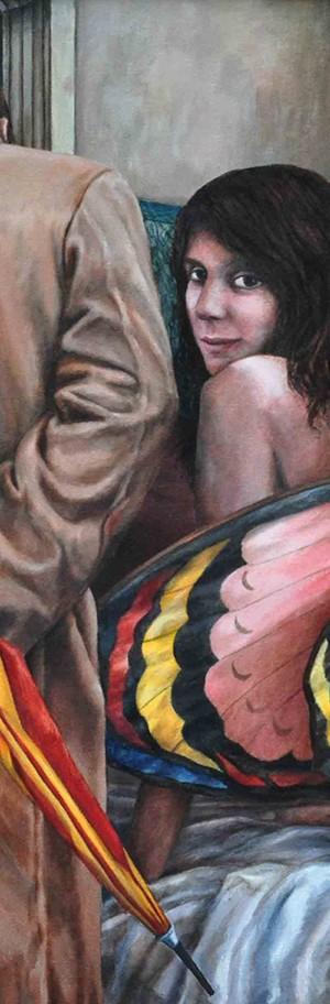 La Noche Huyendo del Día . óleo sobre lienzo . 80x100cm . 1995