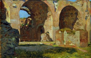 Basílica de Constantino, Roma . óleo sobre tabla . 23x32cm . 1907