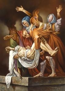 Caravaggio, Descendimiento . óleo sobre lienzo . 70x50cm . 1986