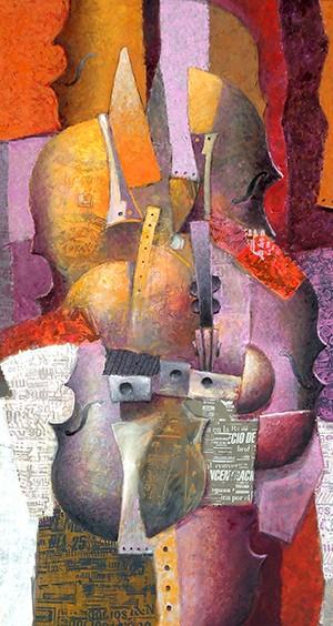 """""""Estructura Vertical"""" . óleo sobre lienzo . 124 x 104 cm . 2012"""
