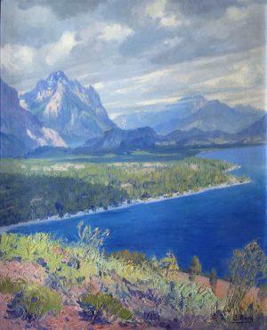 Cerro Capilla desde la Playa Bonita, Bariloche . óleo sobre tabla . 55x45cm . 1942