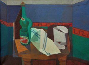 La Botella, Homenaje a Pettoruti . óleo sobre lienzo . 60x80cm . 1948