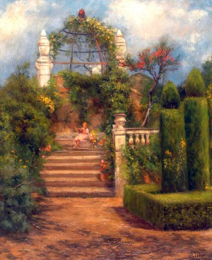 Jardín de mi Casa . óleo sobre lienzo . 72x60cm . 1925