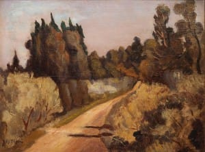Caminito, Bella Vista . óleo sobre tabla . 27x35cm . 1948