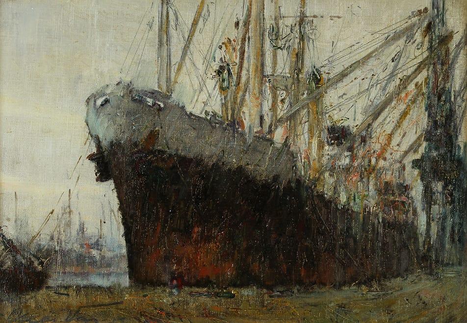 """""""Carguero de Ultramar"""" . óleo sobre cartón . 33x47 cm . 1955"""