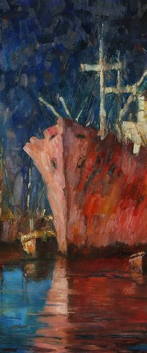 """Escena de Puerto"" . óleo sobre lienzo . 70x90 cm . 1980"