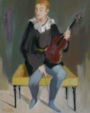 Violinista de Orquesta . óleo sobre lienzo . 100x70cm . 1981