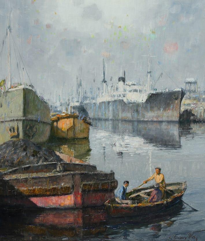 """Puerto Carbonero"" . óleo sobre lienzo . 70x60 cm . 1960"