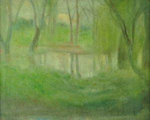 Daneri Eugenio . Laguna de Palermo . óleo sobre lienzo . 62x74cm . 1912