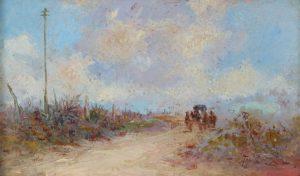 De la Torre Carlos . El Carruaje . óleo sobre lienzo . 13x22cm . 1918