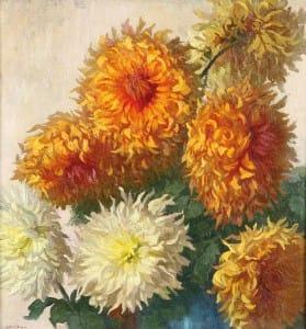 Collivadino Pio . Dalias . óleo sobre lienzo . 65x61cm . 1930