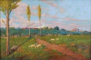 Lazzari Alfredo . Paisaje con Alamos y Ovejas . óleo sobre lienzo . 49x76cm . 1903