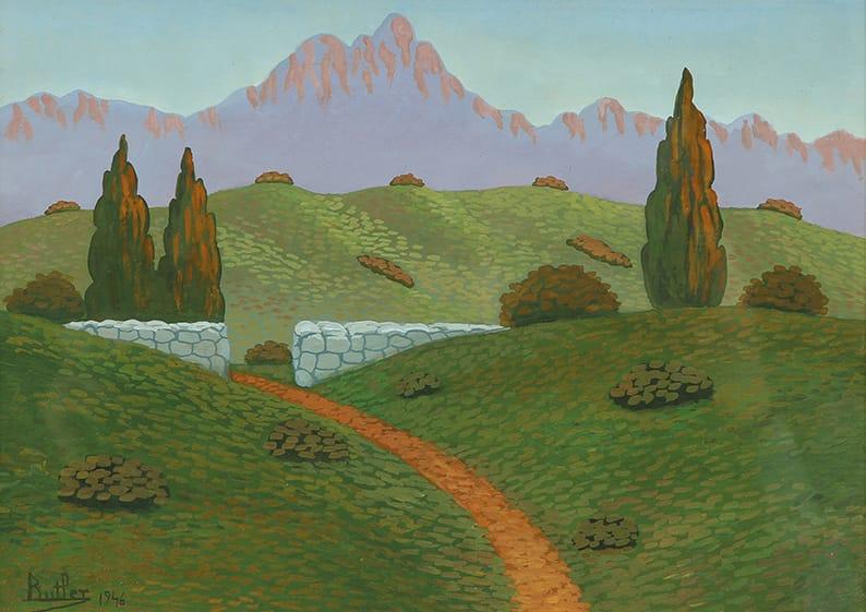Butler Fray Guillermo . Entrada en las Sierras . óleo sobre hardboard . 24x34cm . 1946