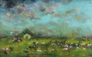 Ripamonte Carlos . En el Campo . óleo sobre lienzo . 68x100cm . 1940