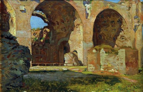 Alice Antonio . Basílica de Constantino, Roma . óleo sobre tabla . 23x32cm . 1907