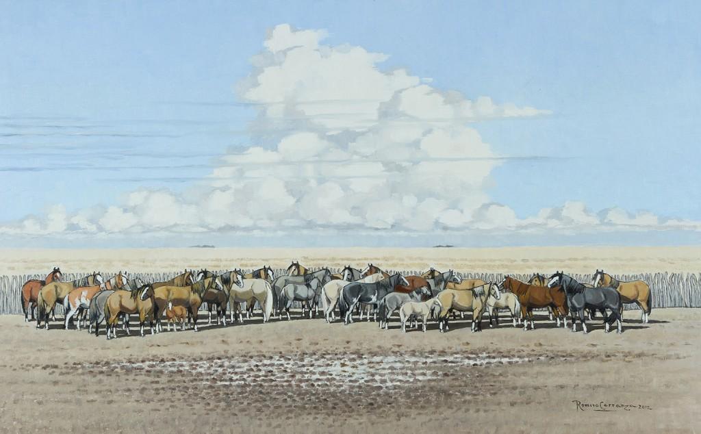 La Manada en el Corral . óleo sobre lienzo . 50x80cm . 2012