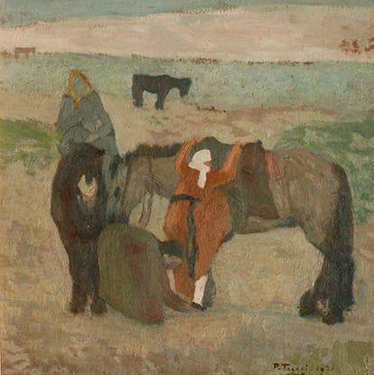 Pedro Figari . Cambiando el Montado . óleo sobre lienzo . 40x40cm . 1921