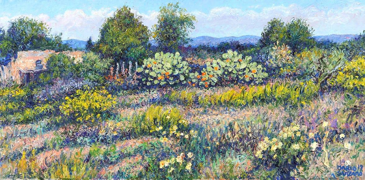 """Campo con Tunales"", óleo sobre lienzo, 40x80 cm, 2014"