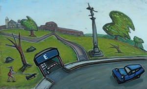 Plaza Francia . óleo sobre lienzo . 60x96cm . 2014