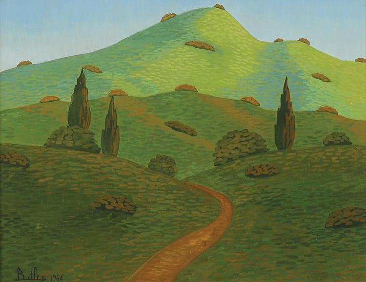 Camino de las Sierras . óleo sobre hardboard . 24x30cm . 1946