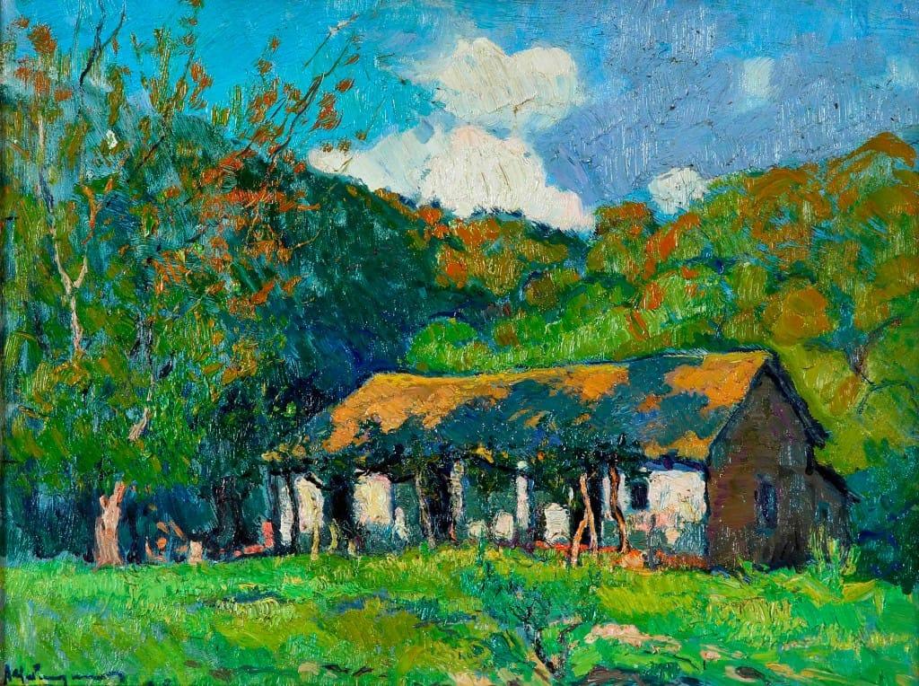 Atilio Malinverno . Rancho en Salsipuedes . óleo sobre cartón .32x43cm . 1928