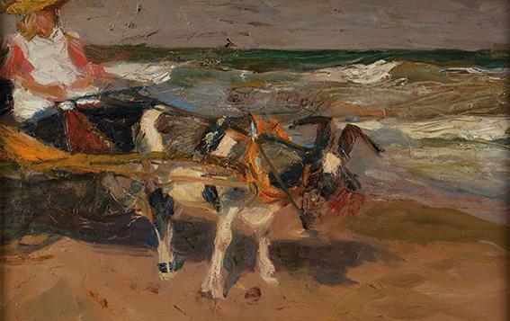 En la Playa, Holanda . óleo sobre cartón entelado . 31x49cm . 1903