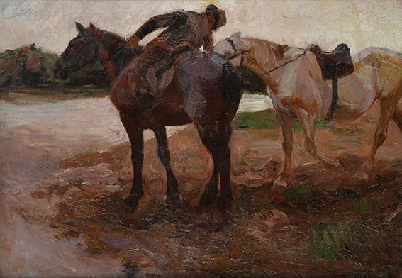 Caballos en el Río . óleo sobre lienzo . 90x118cm . 1904