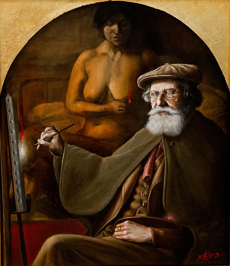 """""""Homenaje a Sívori"""", óleo sobre madera, 40x34 cm, 2015"""