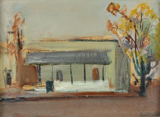 Paisaje de Villa Ballester, óleo sobre cartón, 17x23 cm, 1948
