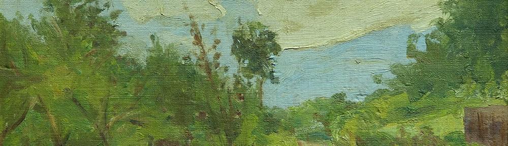 Paisaje de Italia . óleo sobre cartón . 22x40cm . 1899