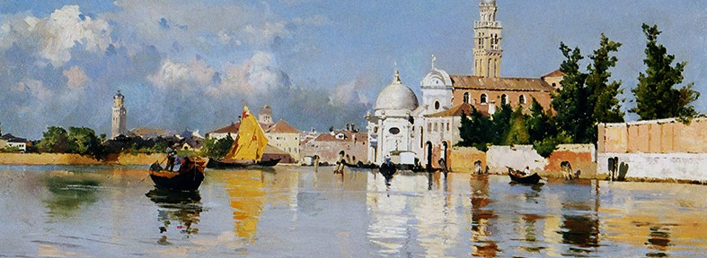 San Michele, Venecia . óleo sobre lienzo . 38x77cm . 1884