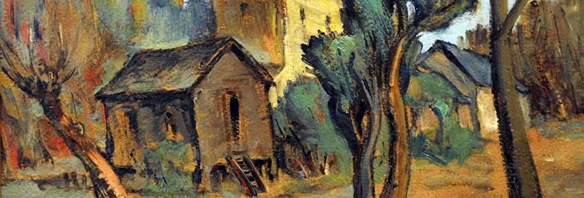 Casas en el Tigre . óleo sobre cartón . 24x34cm . 1941
