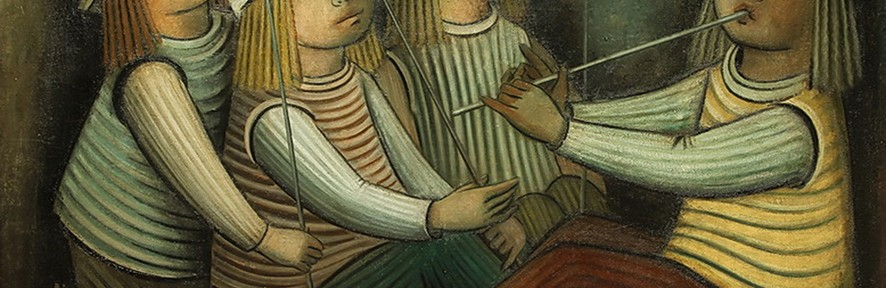 Jóvenes . óleo sobre lienzo . 70x100cm . 1960