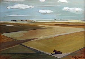 Campo Arado . témpera sobre table . 50x70cm . 1952