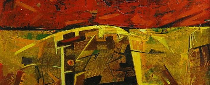 Cielo Rojo sobre La Pampa Salitrera . óleo sobre hardboard . 26x32cm . 2011