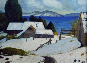 Paisaje Nevado . óleo sobre lienzo . 41x54cm . 1960