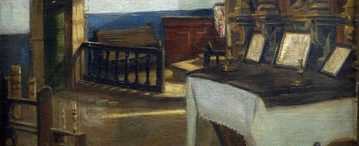 Interior de Iglesia . óleo sobre lienzo . 48x52cm . 1898
