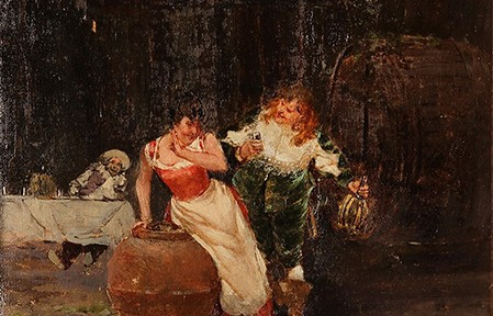 La Invitación . óleo sobre lienzo . 45x30cm . 1920