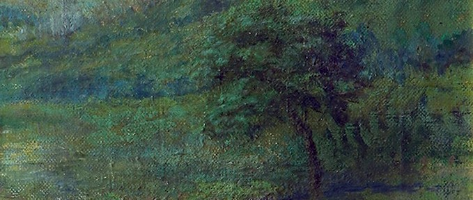 Paisaje . óleo sobre lienzo . 30x28cm . 1920