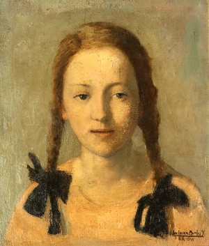 Moza de Trenzas . óleo sobre lienzo . 40x35cm . 1949