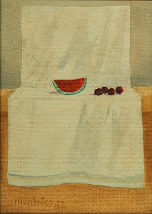 Las Mesas II . acrílico sobre cartón . 18x13cm . 1982
