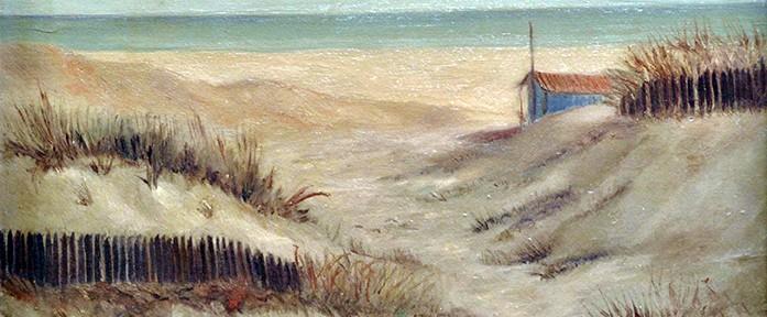 Playa con Valla Azul . óleo sobre cartón . 40x49cm . 1963