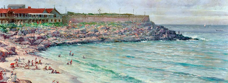 Playa Chica, Mar del Plata . óleo sobre lienzo . 40x74cm . 1918